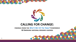 Image of title slide of 2018 CoNECD conference presentation: Calling For Change: Findings From The Who's Not At The Table? Conference and Emerging National Research Agenda