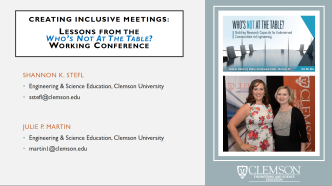 Image of title slide of 2017 WEPAN conference presentation: Creating Inclusive Meetings: Lessons From the Who's Not At The Table? Working Conference